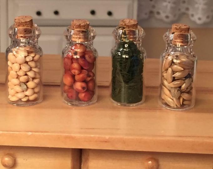 Miniature Food Jars, Filled Glass Jars, Set of 4, Dollhouse Miniatures, 1:12 Scale, Miniature Food, Kitchen Accessory, Decor