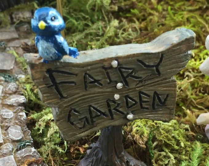 Fairy Garden Blue Bird Sign, Fairy Garden Accessory, Garden Decor, Miniature Gardening, Terrarium Accessory