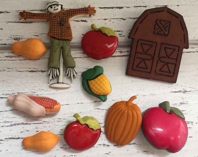 """Fall Themed Buttons, Packaged Novelty Buttons by Buttons Galore,""""Autumn Harvest"""" Style 4622, Includes Scarecrow, Pumpkin, Apples, Corn, Barn"""