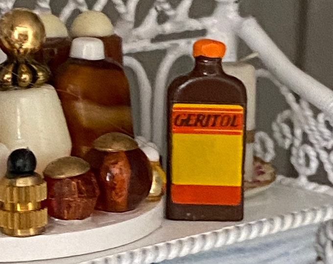 Miniature Medicine Bottle, Mini Brown Medicine Bottle, Style #76,  Bathroom Decor Accessory, Dollhouse Miniature, 1:12 Scale