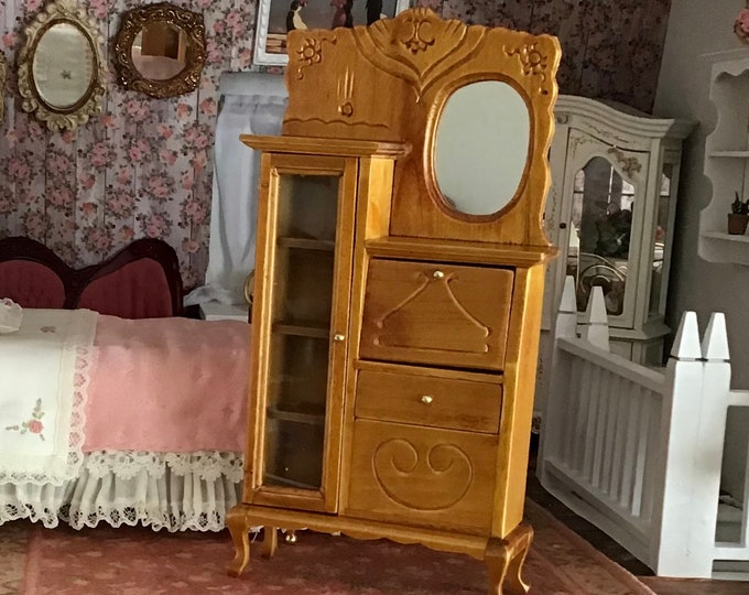 Miniature Side by Side With Mirror, Doors, Drop Down Desk, Vintage Look Secretary Cabinet, Dollhouse Miniature Furniture, 1:12 Scale