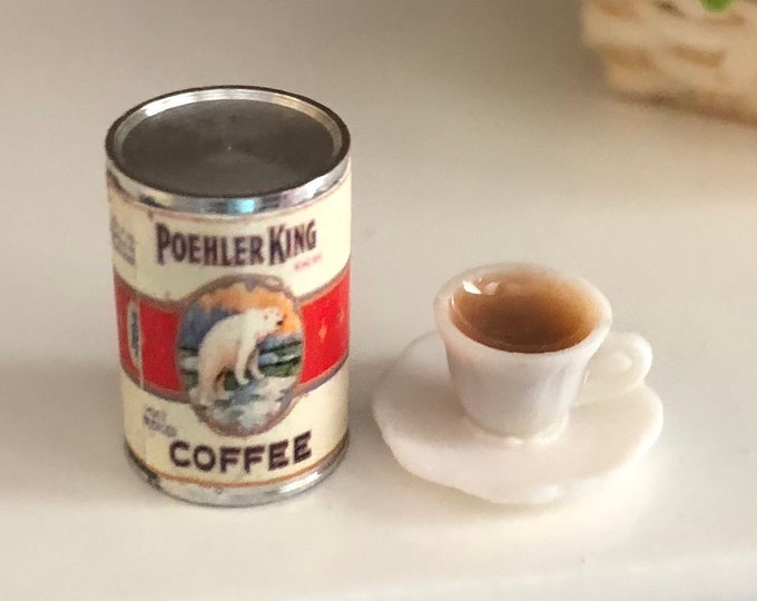 Miniature Coffee Set, Mini Coffee Can With Polar Bear Graphics and Coffee Cup, Dollhouse Miniature, 1:12 Scale, Dollhouse Accessories