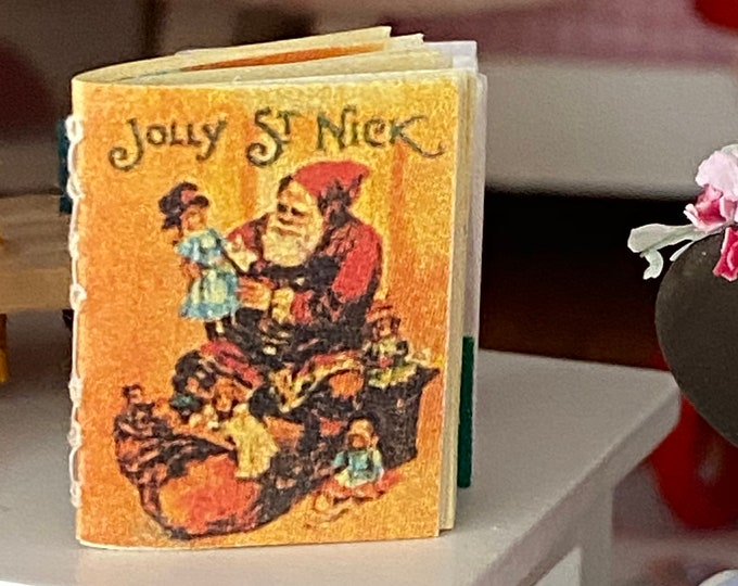 Miniature Christmas Book, Jolly Saint Nick, Readable Book With Text And Illustrations, Style #47, Dollhouse Miniature, 1:12 Scale, Mini Book