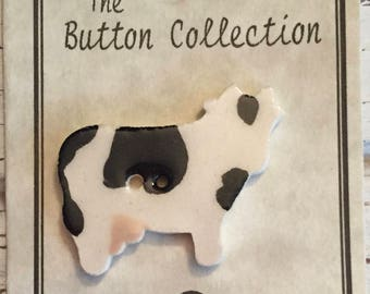 Ceramic Cow Button, Hand Painted, Mill Hill Button Collection, 2 Hole, Sewing, Crafting, Cross Stitch, Embellishment