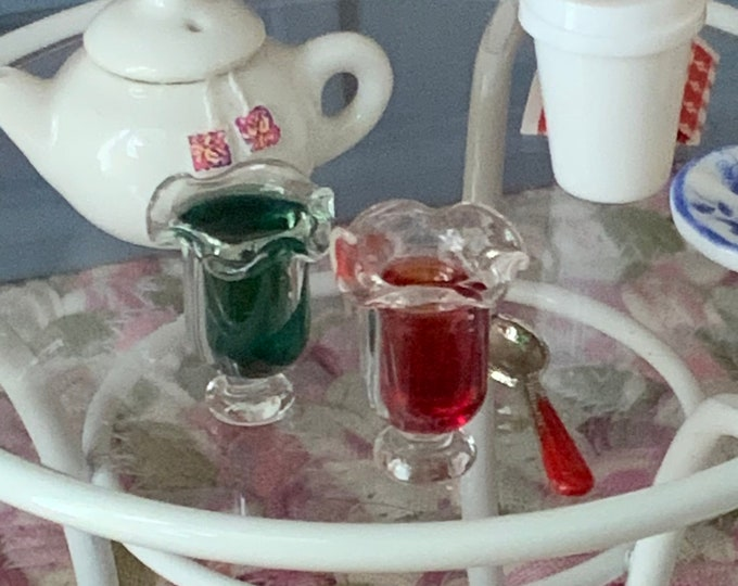 Miniature Jelly, Red and Green Jello Cups, Mini Glass Cups of Jello, Dollhouse Miniature, 1:12 Scale, Miniature Dollhouse Food
