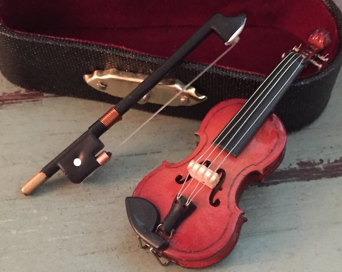 Miniature Violin with Case, Mini Violin,  2 and 1/2 Inches Tall, Mini Accessory, Decor, Topper
