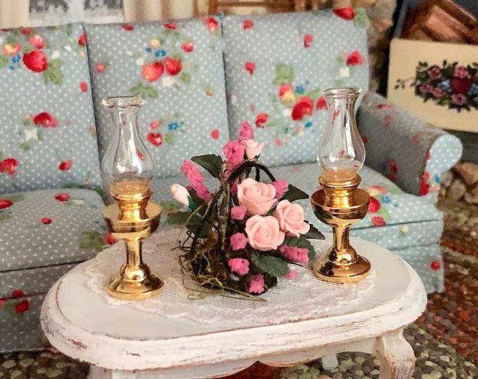Miniature Kerosene Lamps, Set of 2, Dollhouse Miniatures, 1:12 Scale, Mini Lamps, Dollhouse Accessory, Decor, Crafts