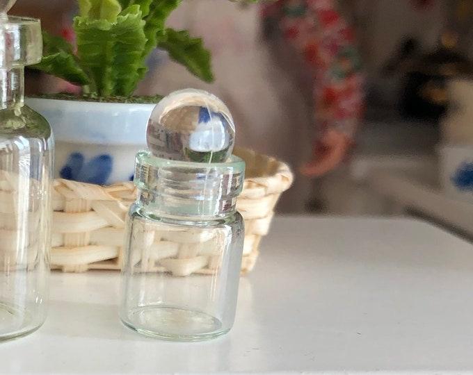 Miniature Glass Jar Bottles, Set of 2 With Tops, Dollhouse Miniature, 1/12 Scale, 21 mm Jars With Tops, Dollhouse Decor