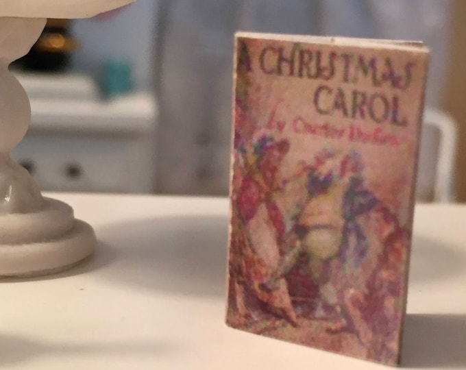 """Miniature Book, """"A Christmas Carol""""  Printed Text, Front and Back Cover, Dollhouse Miniature, 1:12 Scale, Mini Book"""