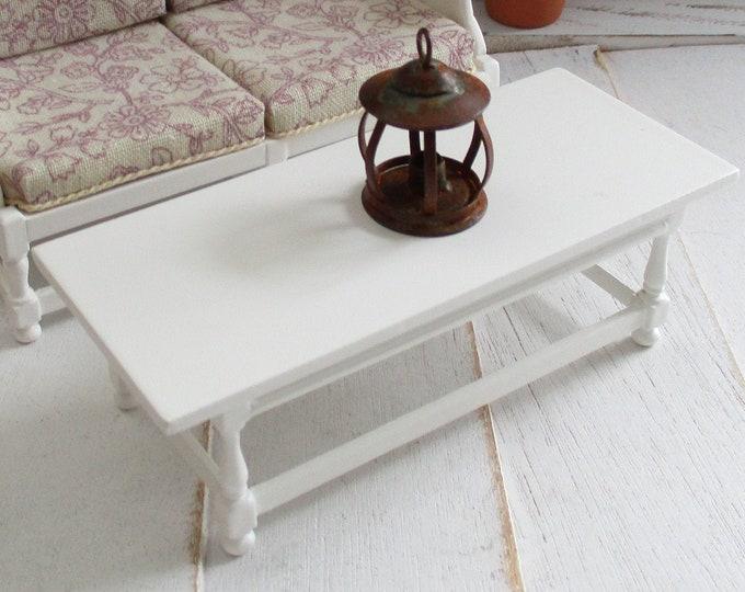 Miniature JBM Coffee Table,  Mini White Wood Table, Style #53, Dollhouse Miniature Furniture, 1:12 Scale, White Table