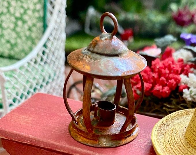 Miniature Lantern, Rusted Mini Lantern, Style #21, Dollhouse Miniature, 1:12 Scale, Dollhouse Decor, Mini Metal Lantern