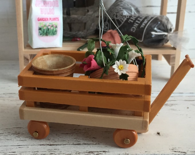 Miniature Wood Wagon, Dollhouse Miniature, 1:12 Scale, Mini Wagon, Dollhouse Accessory, Miniature Garden, Fairy Garden, Topper, Decor