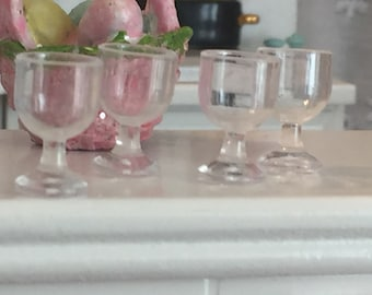Miniature Wine Glasses, Set of 4, Style 71, Dollhouse Miniature, 1:12 Scale, Dollhouse Glasses, Miniature Accessories, Decor, Mini Glass