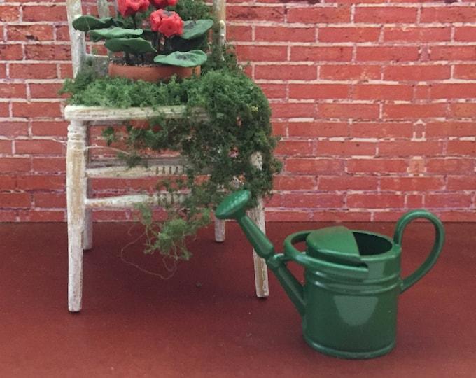 Miniature Watering Can, Green Metal Watering Can, Dollhouse Miniature, 1:12 Scale, Miniature Gardening, Fairy Garden,Home & Garden