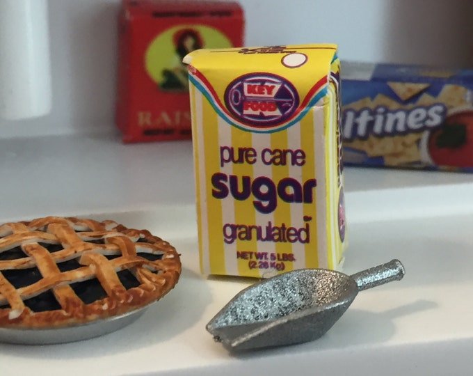 Miniature Sugar and Scoop, Dollhouse Miniature, 1:12 Scale, Dollhouse Accessory, Miniature Food, Bag of Sugar, Mini Scoop, Decor, Kitchen