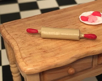 Miniature Rolling Pin, Red Handle Wood Look Rolling Pin, Dollhouse Miniature, 1:12 Scale, Dollhouse Accessory, Kitchen Decor, Mini Baking