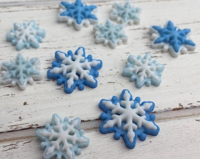 """Blue & White Flat Back Snowflake Embellishment Package by Buttons Galore, """"Brrrr' Style 4796"""