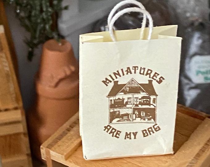 Miniature Shopping Bag, Miniatures Are My Bag Handle Bag, Dollhouse Miniature, 1:12 Scale, Dollhouse Accessory, Decor, Crafts