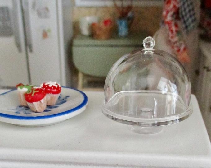Miniature Cake Stand, Mini Covered Cake Dessert Dish,  Style #98, Dollhouse Miniatures, 1:12 Scale, Dollhouse Decor Accessory