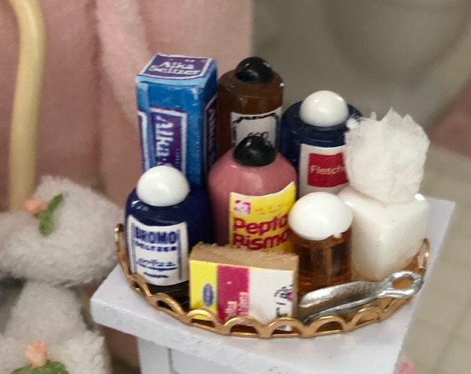 Miniature Medicine Products Tray, Senior Tray Style 2, Dollhouse Miniatures, 1:12 Scale, Mini Bathroom Decor, Dollhouse Accessory