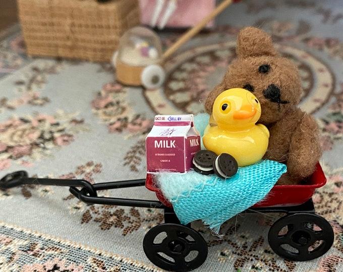Miniature Decorated Wagon, Red Wagon With Teddy Bear, Duck, Milk & Cookies, Dollhouse Miniature, 1:12 Scale, Dollhouse Decor