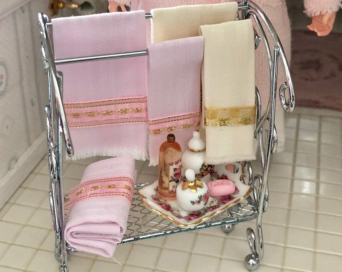 Miniature Decorated Bathroom Rack Set, Silver Towel Rack With Accessories by Reutter, Dollhouse Miniature, 1:12 Scale, Bathroom Accessory