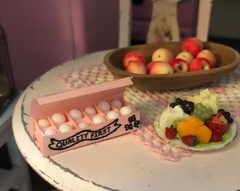 Miniature Eggs in Pink Carton, Dollhouse Miniature, 1:12 Scale, Dollhouse Food, Mini Food, Dollhouse Accessory, Decor, Crafts