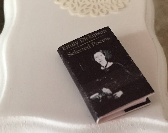Miniature Book, Emily Dickinson, Printed Text Throughout, Dollhouse Miniature, 1:12 Scale, Mini Book of Poems, Dollhouse Accessory, Decor