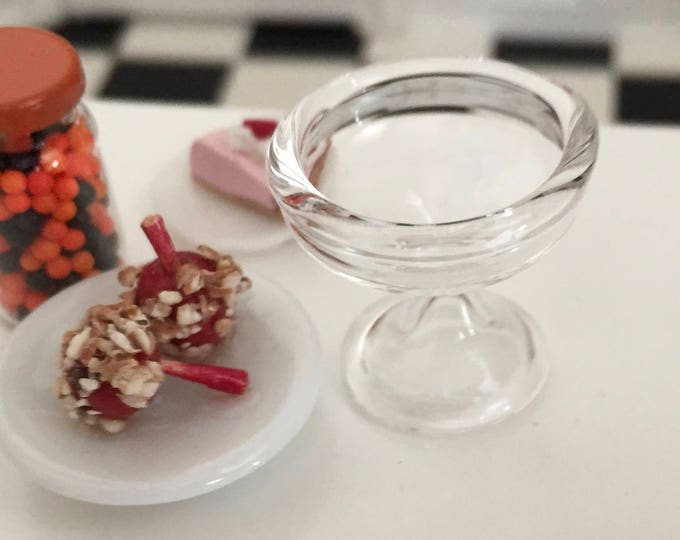 Miniature Glass Pedestal Bowl, Dollhouse Miniature, Style 05, 1:12 Scale, Dollhouse Decor Accessory, Crafts, Topper