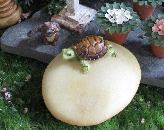 Mini Turtle On Rock, Miniature Turtle Figurine, Fairy Garden, Miniature Garden Decor, Mini Turtle Figurine