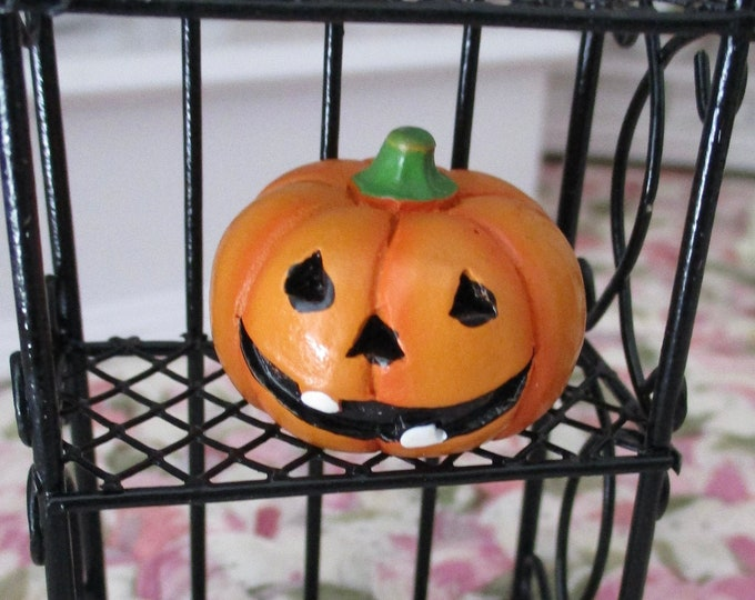 Miniature Jack O Lantern, Mini Hand Painted Pumpkin, Style #25, Dollhouse Miniature, 1:12 Scale, Dollhouse Accessory, Holiday Decor