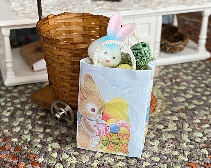 Miniature Easter Bag,  Filled Mini Bag With Bunny and Eggs,  Dollhouse Miniature, 1:12 Scale, Easter Spring Dollhouse Decor, Crafts