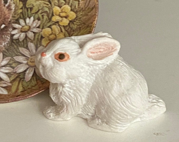Miniature Standing White Rabbit, Mini Bunny Rabbit Figurine, Dollhouse Miniature, 1:12 Scale, Dollhouse Accessory, Decor, Crafts