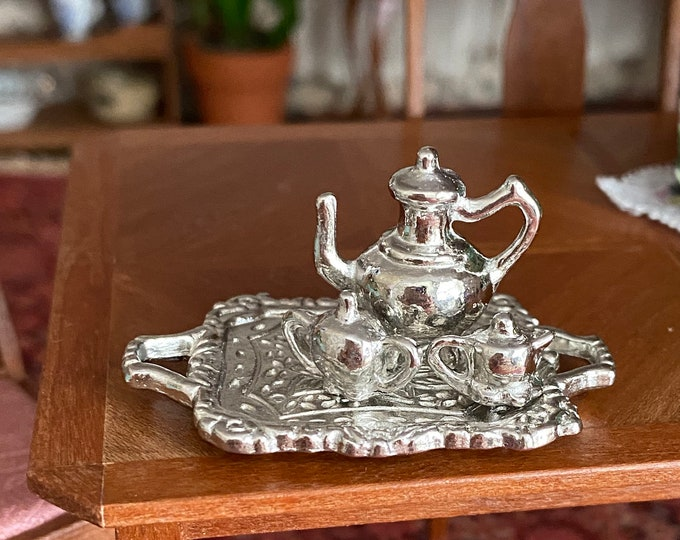 Miniature Silver Tea Set, Includes Teapot, Creamer, Sugar Bowl and Tray, Dollhouse Miniature, 1:12 Scale, Dollhouse Decor, Accessory
