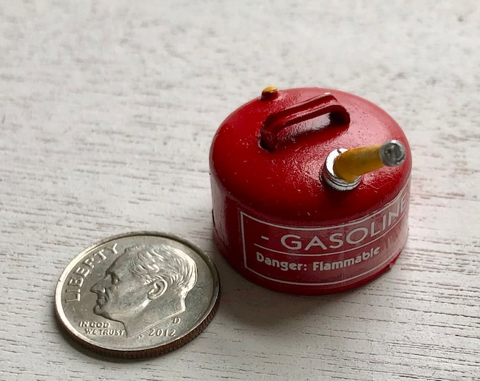 Miniature Gas Can, Red Mini Metal Gas Can, Dollhouse Miniature, 1:12 Scale, Dollhouse Accessory, Decor, Crafts