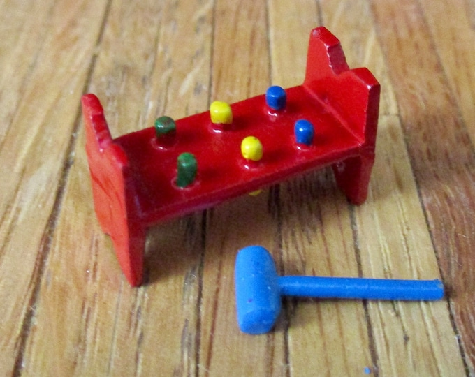 Miniature Toy, Pound a Peg Toy, Red With Blue Hammer, Dollhouse Miniature, 1:12 Scale, Dollhouse Accessory, Decor Item, Crafts, Mini Toy
