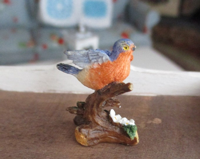 Miniature Bluebird Bird Figurine, Hand Painted Bird Figurine Statuette, Style #12, Dollhouse Miniature, 1:12 Scale, Dollhouse Decor