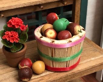 Miniature Apples and Bushel Basket, 24 Mini Apples and Mini Basket, Choose Style, Dollhouse Miniature, 1:12 Scale, Mini Food