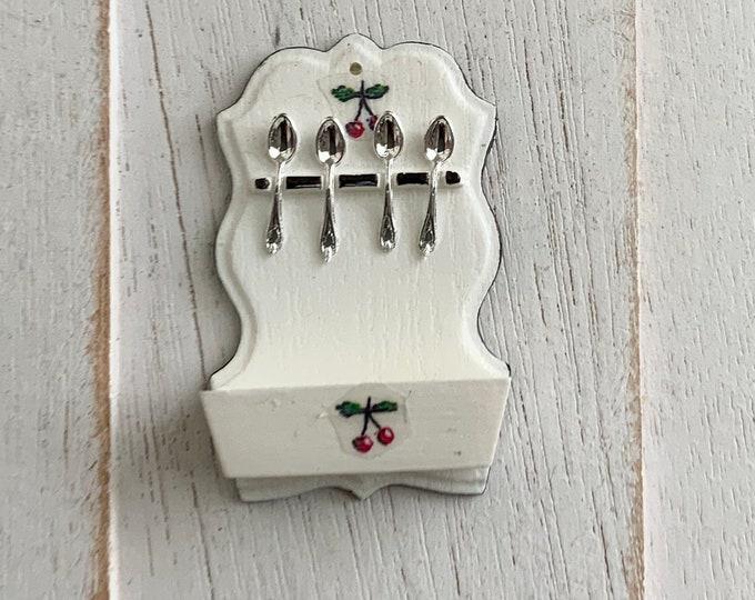 Miniature Spoon Holder, Mini Cherry Decal, White Vintage Look Spoon Rack, Dollhouse Miniature, 1:12 Scale, Dollhouse Kitchen Decor