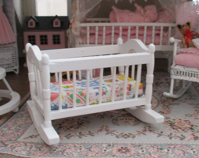 Miniature Cradle, Mini White Wood Rocking Cradle, Style #03, Dollhouse Miniature Furniture, 1:12 Scale, Dollhouse Nursery Decor
