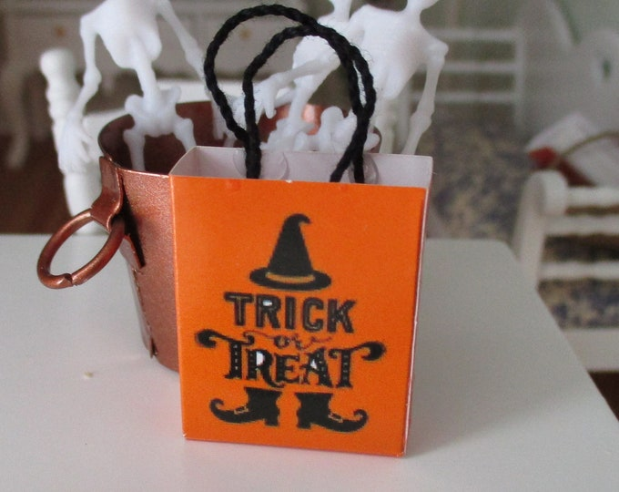 Miniature Trick Or Treat Shopping Bag, Mini Paper Bag With Handles, Style #72A, Dollhouse Miniature, 1:12 Scale, Halloween Decor, Accessory