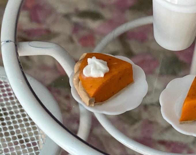 Miniature Pumpkin Pie Slice On Plate, Dollhouse Miniature, 1:12 Scale, Dollhouse Food, Mini Food, Holiday Decor, Mini Pie