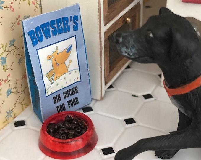Miniature Dog Food, Bag and Filled Bowl Set, Dollhouse Miniature, 1:12 Scale, Dollhouse Decor, Miniature Pet Dood, Dollhouse Accessory
