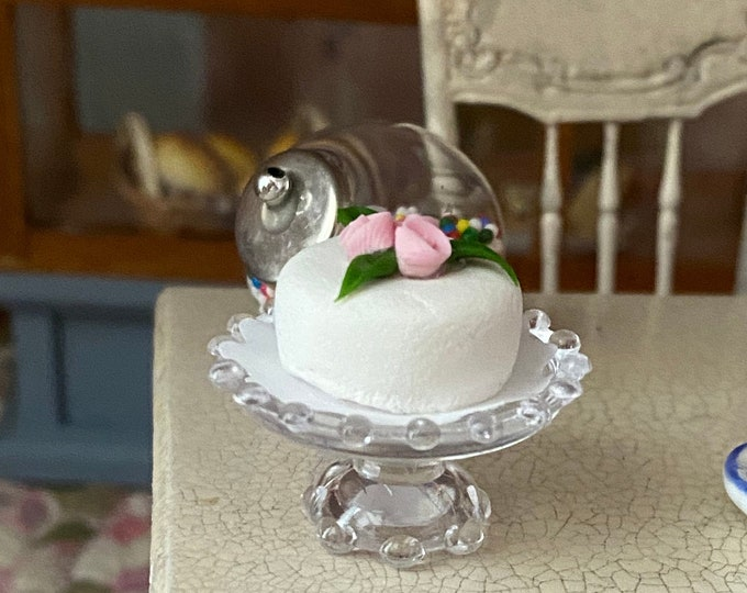Miniature Frosted Cake on Stand, White Cake with Rose on Clear Cake Stand,  Dollhouse Miniature, 1:12 Scale, Mini Food, Dollhouse Food