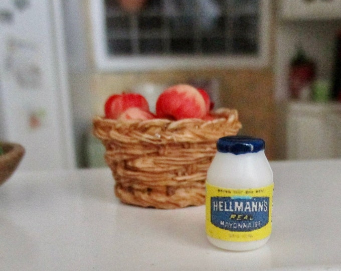 Miniature Mayo Bottle, Mini Condiment Food Jar, Style #01, Dollhouse Miniatures, 1:12 Scale, Miniature Food, Dollhouse Food