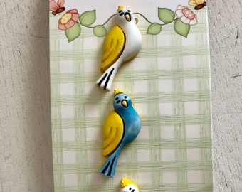 "Bird Buttons, Set of 3, ""Love Birds"" by Buttons Galore, Cute, Bright, Shank Back Buttons, Embellishments, Crafts, Sewing, Bird Buttons"