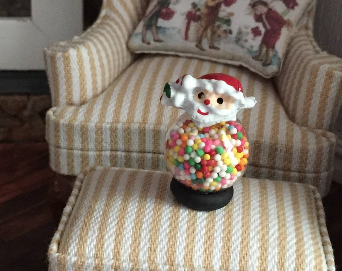 Miniature Santa Candy Jar, Santa Claus Candy Filled Jar, Dollhouse Miniature, 1:12 Scale, Dollhouse Holiday Accessory, Decor, Topper, Crafts