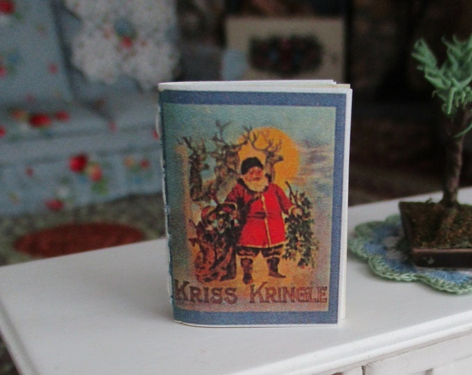 Miniature Christmas Book, Kris Kringle Story Book, Mini Readable Book With Text Illustrations, Style #51, Dollhouse Miniature, 1:12 Scale