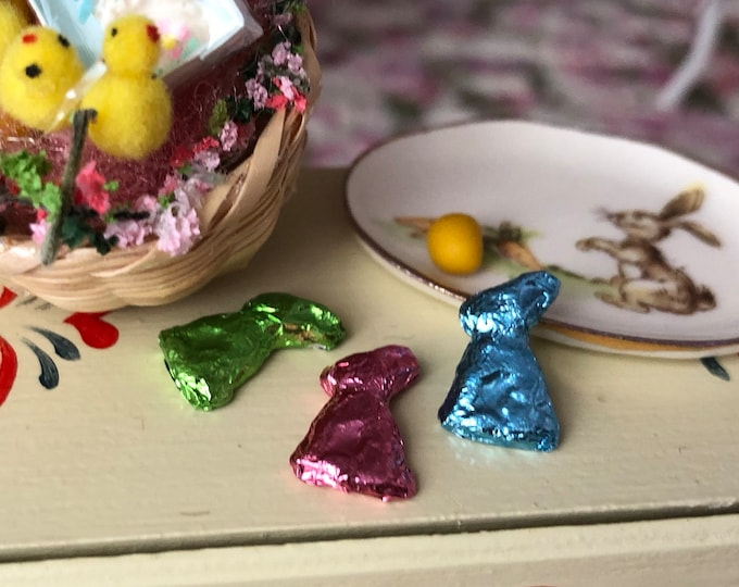 Miniature Foil Bunny, Mini Chocolate Look Foil Bunny, Choose Color, Dollhouse Miniature, 1:12 Scale, Easter Decor, Dollhouse Accessory