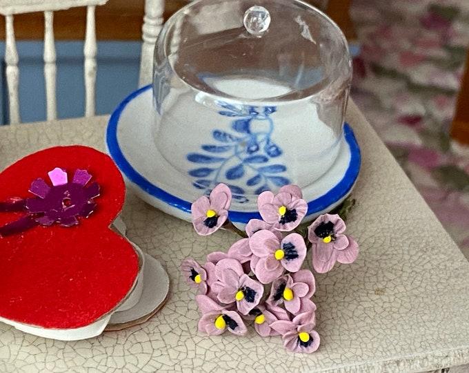 Miniature Pansies, Mini Pansy Bunch, 1 Dozen Stems, Style #42, Dollhouse Miniature, 1:12 Scale, Dollhouse Flowers, Mini Flower Bunch
